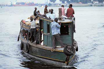 Passenger boat in the port of Abidjan