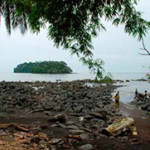 Au large, la petite île Nichols où accostaient les navires négriers