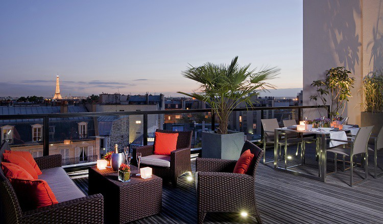 Terrace of the Edmond Hotel Paris 17e