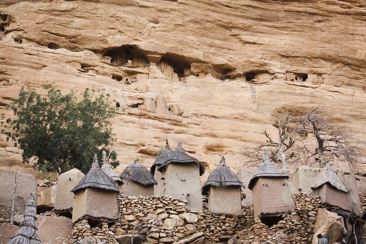 At the foot of the cliff we can see the Dogon granaries of the village of Ireli while higher Telem ones are suspended from the cliff.