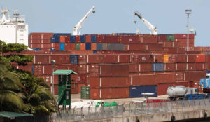 A view on PTML port on Tin Can Island, Lagos, Nigeria, on May 19th, 2014. / Une vue sur le port de PTML, sur Tin Can Island, Lagos, Nigeria, le 19 mai 2014.