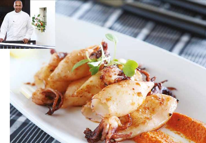 Grilled Calamari with Romesco sauce by Chef Coco Reinarhz
