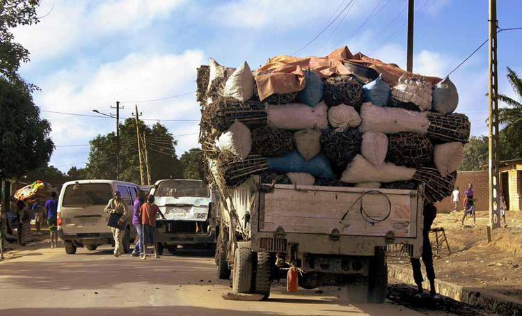 Loaded truck in Lubumbashi, DRC. Photo by Alain Nsenga