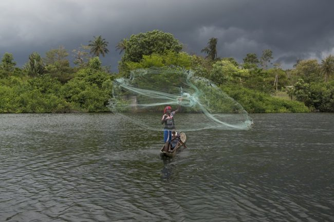 Fishing in the lagoon, Ivory Coast