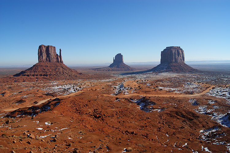 Monument Valley under the snow